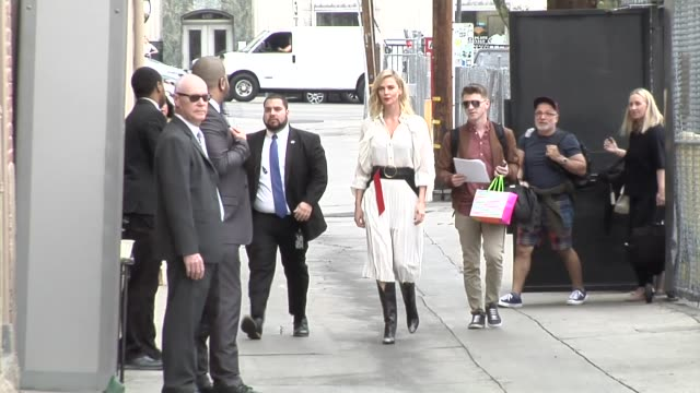 Charlize Theron arrives for her guest appearance on Jimmy Kimmel Live at El Capitan Theater in Hollywood in Celebrity Sightings in Los Angeles