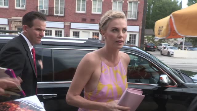 Charlize Theron arriving at the Dark Places Premiere in Los Angeles in Celebrity Sightings in Los Angeles