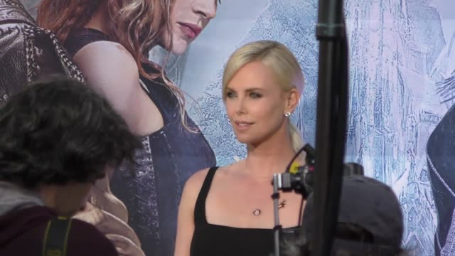 Charlize Theron arriving to the Huntsman Premiere at Regency Village Theatre in Westwood in Celebrity Sightings in Los Angeles