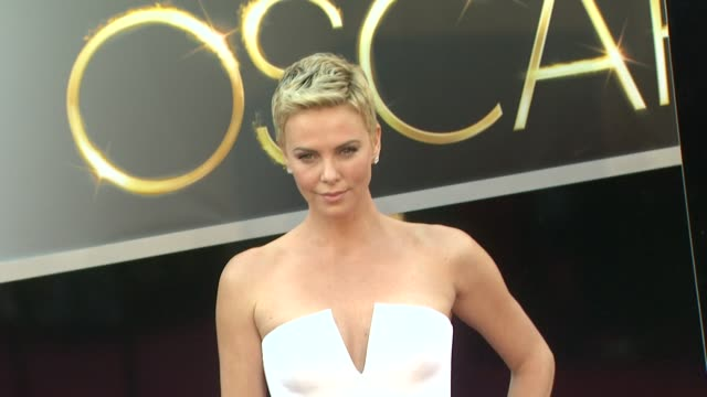 charlize theron at 85th annual academy awards arrivals on 2/24/13 in los angeles ca - academy awards stock videos & royalty-free footage