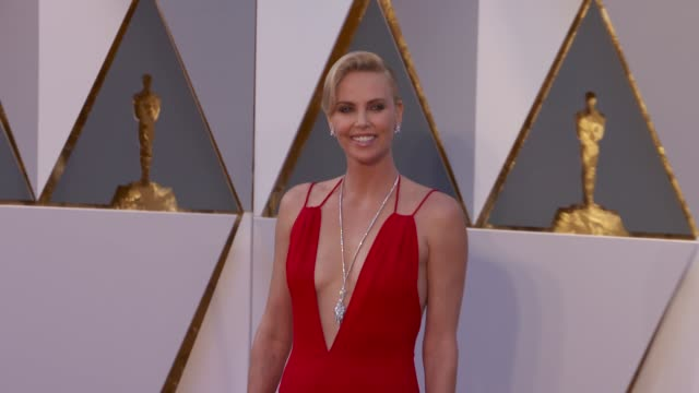 charlize theron at 88th annual academy awards arrivals at hollywood highland center on february 28 2016 in hollywood california 4k - academy awards stock videos & royalty-free footage
