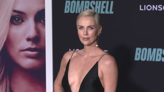 """charlize theron at """"bombshell"""" special screening on december 10, 2019 in los angeles, california. - シャーリーズ・セロン点の映像素材/bロール"""