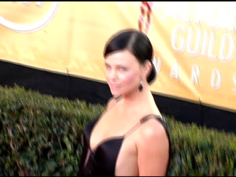 charlize theron at the 2005 screen actors guild sag awards arrivals at the shrine auditorium in los angeles, california on february 5, 2005. - screen actors guild awards stock-videos und b-roll-filmmaterial
