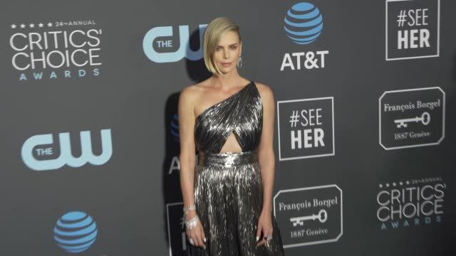 charlize theron at the 24th annual critics' choice awards at barker hangar on january 13, 2019 in santa monica, california. - charlize theron stock videos & royalty-free footage