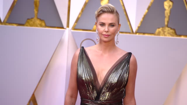 charlize theron at the 89th annual academy awards arrivals at hollywood highland center on february 26 2017 in hollywood california 4k - academy awards stock videos & royalty-free footage