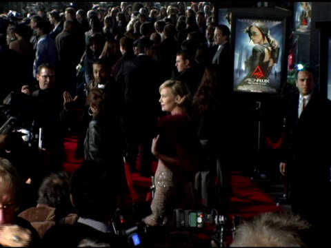 charlize theron at the 'aeon flux' los angeles premiere at the cinerama dome at arclight cinemas in hollywood california on december 1 2005 - arclight cinemas hollywood stock videos and b-roll footage