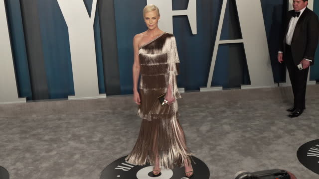 charlize theron at vanity fair oscar party at wallis annenberg center for the performing arts on february 09, 2020 in beverly hills, california. - oscar party stock videos & royalty-free footage