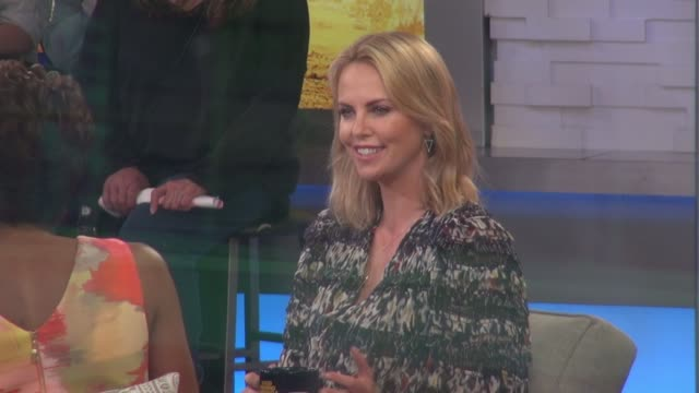 Charlize Theron being interviewed on the 'Good Morning America' show in Celebrity Sightings in New York