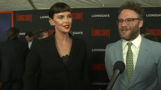 """charlize theron jokes """"i am incredible in this film"""", seth rogen on why they made this film at """"long shot"""" new york special screening at amc lincoln... - シャーリーズ・セロン点の映像素材/bロール"""