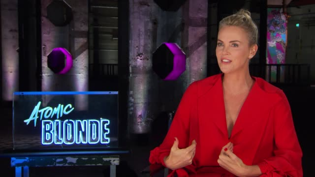 charlize theron on a female being the lead in an action film, sparring with keanu reeves, realistic fighting & growing up in south africa at the... - charlize theron stock videos & royalty-free footage