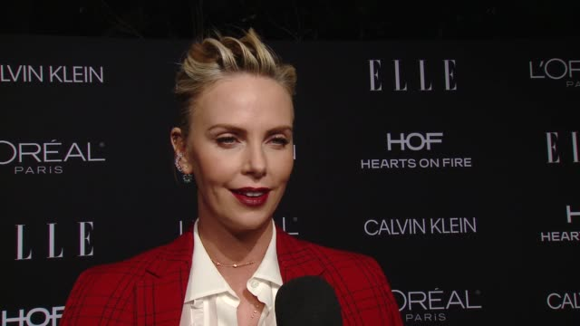 charlize theron on how does it feel to be honored among this amazing group of women, on you all have such inspiring careers behind and ahead of... - シャーリーズ・セロン点の映像素材/bロール
