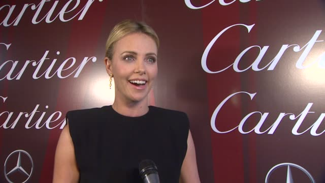 charlize theron on how it feels to be a part of the palm springs international film festival receiving the vanguard award for creative ensemble, what... - cartier stock videos & royalty-free footage
