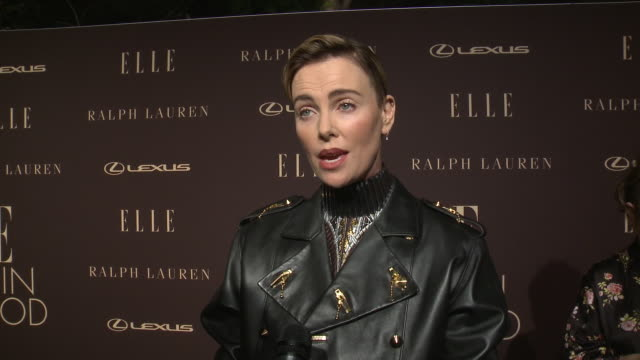 charlize theron on the event at the elle's 26th annual women in hollywood celebration presented by ralph lauren and lexus in los angeles, ca 10/14/19 - シャーリーズ・セロン点の映像素材/bロール
