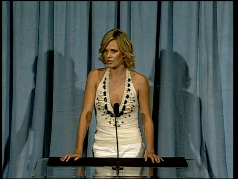Charlize Theron on the job of a filmmaker at the 2006 Annual Academy Awards Nominees Luncheon at the Beverly Hilton in Beverly Hills California on...