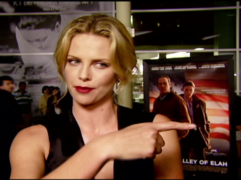 Charlize Theron on the message of the film at the 'In the Valley of Elah' Premiere at Arclight Cinemas in Hollywood California on September 13 2007