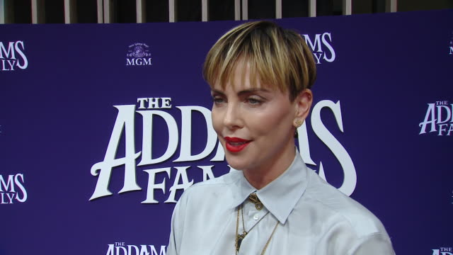 """charlize theron on the movie and its legacy at """"the addams family"""" los angeles premiere in los angeles, ca 10/6/19 - シャーリーズ・セロン点の映像素材/bロール"""