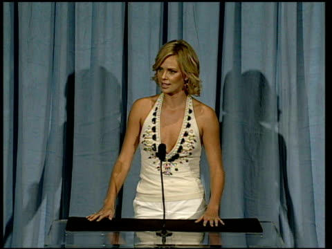 Charlize Theron on the role of an audience at the 2006 Annual Academy Awards Nominees Luncheon at the Beverly Hilton in Beverly Hills California on...