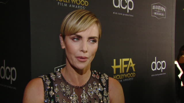stockvideo's en b-roll-footage met interview charlize theron on the the importance of and excitement surrounding the hollywood film awards at the 23rd annual hollywood film awards at... - beverly hilton hotel