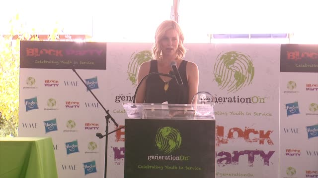 SPEECH Charlize Theron on volunteer work at WME and presenting the award to Ari at generationOn Block Party at Twentieth Century Fox Studio Lot on...