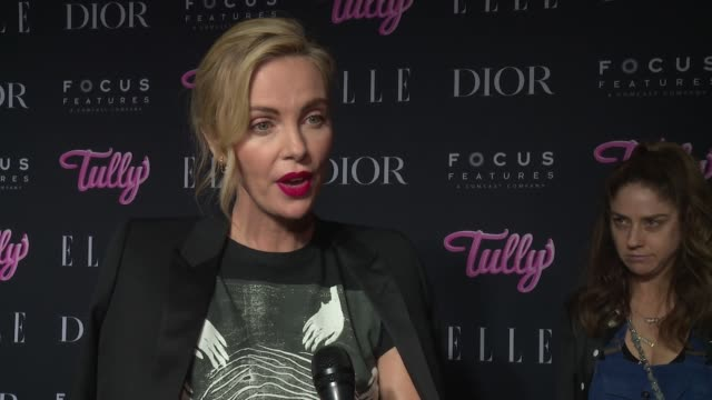 charlize theron on what drew her into diablo cody's script, what the biggest challenge was in being a part of the film, fun moments on set, who her... - シャーリーズ・セロン点の映像素材/bロール
