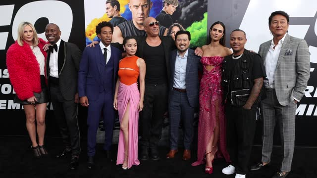charlize theron, tyrese gibson,ludacris, anna sawai, vin diesel, justin lin, jordana brewster, shad moss, and sung kang attend the universal pictures... - tcl chinese theatre stock videos & royalty-free footage