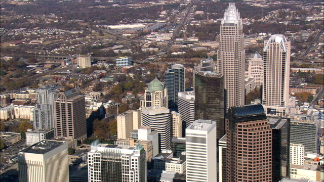 charlotte  - aerial view - north carolina,  mecklenburg county,  united states - charlotte north carolina stock videos & royalty-free footage