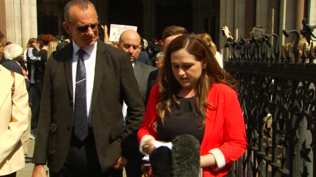 charlotte brown death: jack shepherd loses his conviction appeal: katie brown statement outside court; england: london: royal courts of justice: ext... - asking stock videos & royalty-free footage