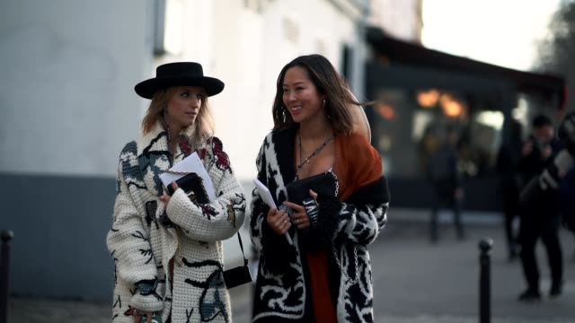 Charlotte Groeneveld and Aimee Song during Paris Fashion Week Haute Couture Spring/Summer 2018 on January 22 2018 in Paris France