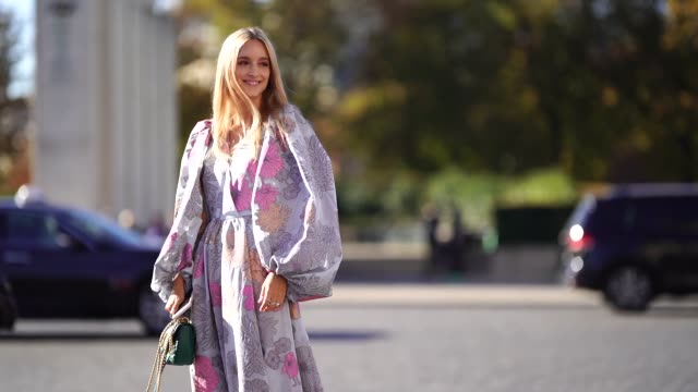 charlotte groeneveld wears a floral print dress a green vuitton bag outside rochas during paris fashion week womenswear spring/summer 2019 on... - floral pattern stock videos & royalty-free footage