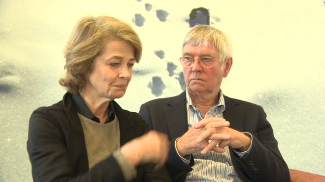interview charlotte rampling tom courtenay on working together at '45 years' interviews 65th berlin film festival at skandic hotel on february 05... - tom courtenay stock videos & royalty-free footage