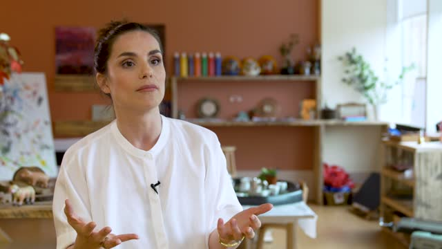 charlotte riley on the importance of studios to ask workers if they need and childcare needs and being able to give them the support they need to... - repairing stock videos & royalty-free footage