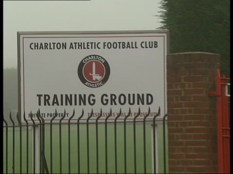 Charlton Athletic Football Club training ground ENGLAND London The Valley Front gates and sign for Charlton Athletic FC training ground close up on...