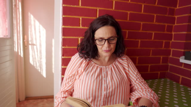 charming beautiful woman reading a book - reading glasses stock videos & royalty-free footage
