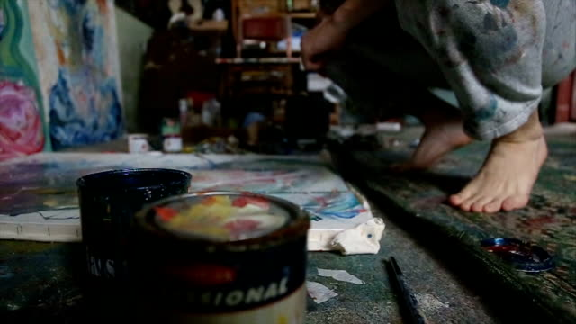 charming painter in studio - atelier tent stock videos and b-roll footage