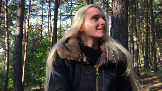 charming woman in forest - spinning point of view stock videos & royalty-free footage