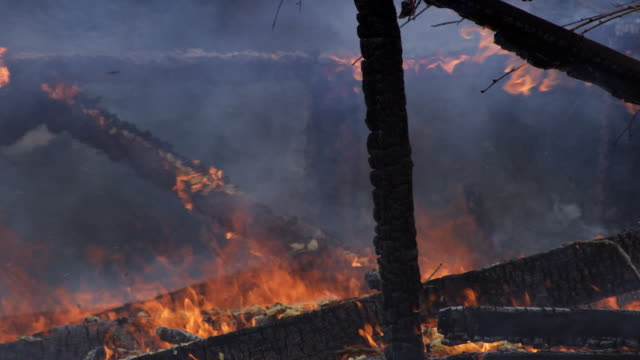 charred supports of a house with flames still burning - myrtle creek stock videos and b-roll footage