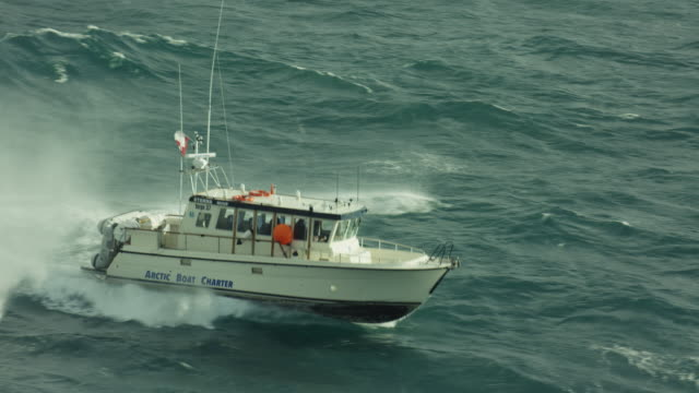 stockvideo's en b-roll-footage met charter boat motors through the sea - ruw