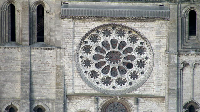 chartres cathedral  - aerial view - centre, eure-et-loir, arrondissement de chartres, france - rose window stock videos and b-roll footage