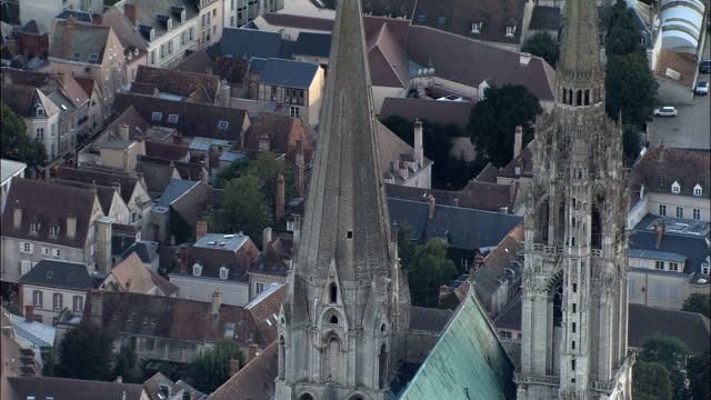 chartres cathedral  - aerial view - centre, eure-et-loir, arrondissement de chartres, france - cathedral stock videos & royalty-free footage