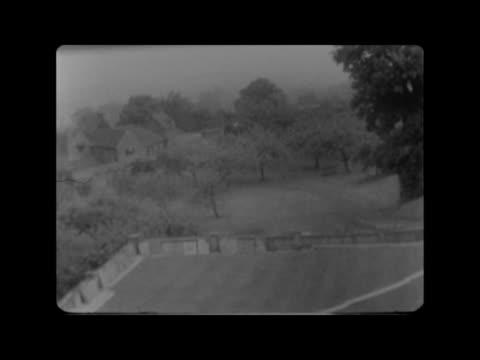 england kent chartwell gv roof pan to chartwell gvs building window opened to show view from churchil's bedroom - domestic room stock videos & royalty-free footage