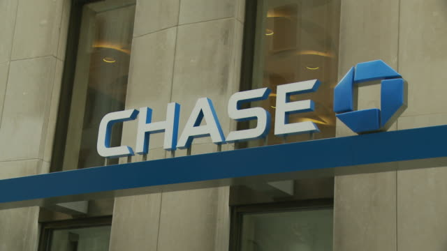 ms chase bank sign on building / new york city, new york, usa - bank financial building stock videos and b-roll footage