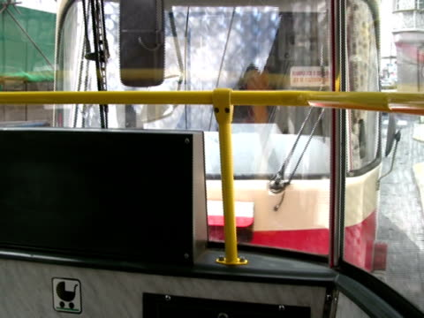 Chased: Tram Streetcar Rear; Through Back Window -Time Lapse-