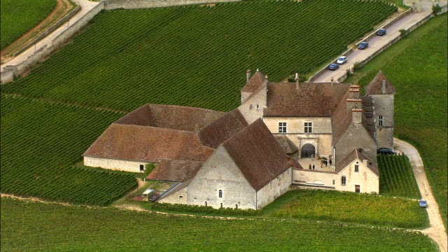 vidéos et rushes de aerial ws zi zo chateau clos de vougeot and surrounding vineyards / cote-d'or, france - monastère
