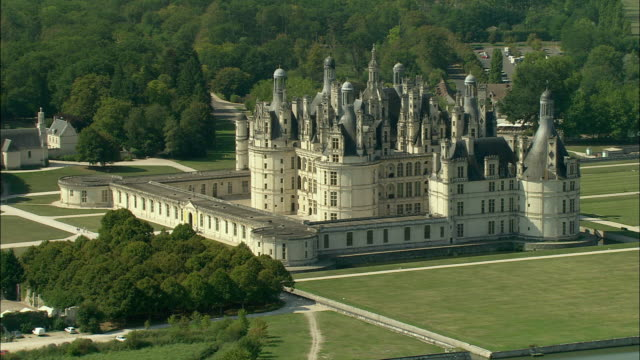 aerial, chateau de chambord, chambord, loir-et-cher, france - french culture stock videos & royalty-free footage