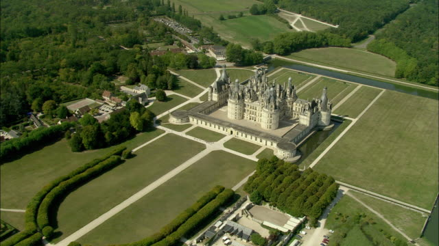 aerial, chateau de chambord, chambord, loir-et-cher, france - courtyard stock videos and b-roll footage