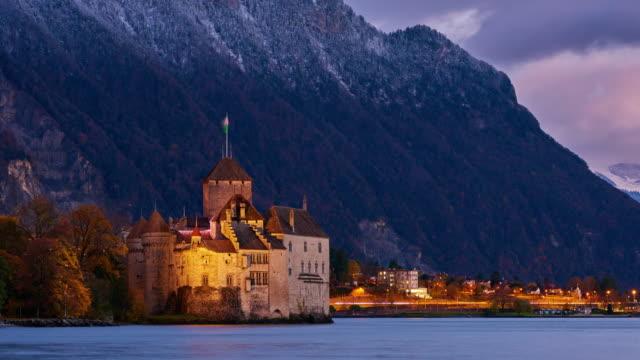 chateau de chillon, geneva lake, montreux, switzerland - castle stock videos & royalty-free footage