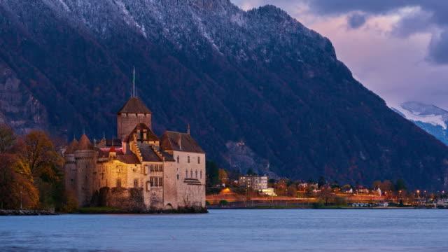 vidéos et rushes de chateau de chillon, geneva lake, montreux, switzerland - montreux