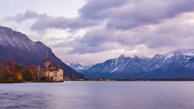 chateau de chillon, geneva lake, montreux, switzerland - montreux stock videos and b-roll footage