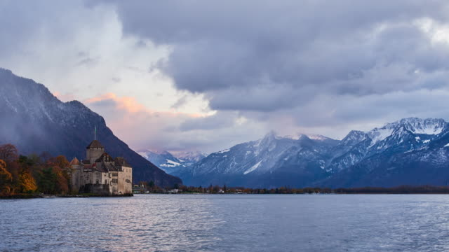 chateau de chillon, geneva lake, montreux, switzerland - montreux stock videos & royalty-free footage