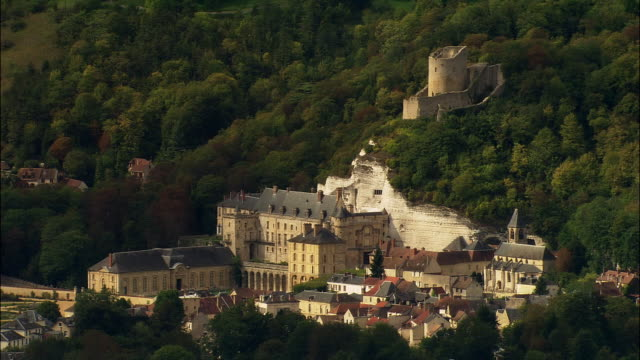 aerial chateau de la roche-guyon/ roche-guyon, france - circa 12th century stock videos and b-roll footage